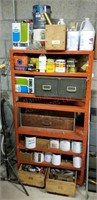 Orange Metal Shelf, Paint Supplies, Thinner,