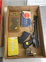 Lot, air pistol, grips, reel, misc