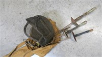 Lot, fencing swords and mask