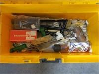 Rubermaid box with black powder supplies