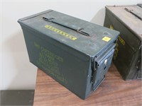 "OD green ammo can, 12"" x 6"" x 7"""