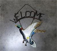 Metal duck welcome sign