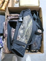 Lot, camo bags, Winchester flashlight, pocket