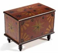 Outstanding Stirewalt family (New Market, Shenandoah Co., VA) paint-decorated yellow pine diminutive box