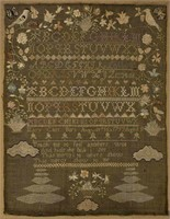 Maria Carr (Maine / New Hampshire) pictorial needlework sampler, from the Sutton Collection of American needlework