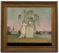Mary Mirick (Massachusetts) painted and silk-embroidered memorial, c. 1825, from the Sutton Collection of American needlework