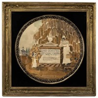 Weidman family (Lititz, Pennsylvania) painted and silk-embroidered memorial, from the Sutton Collection of American needlework
