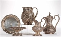 Selection of Baltimore and other sterling repousse, from the estate collection of Buryl and Nelwyn Kay, McLean, VA