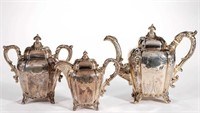 Harris & Stanwood (Boston) three-piece coin silver tea service, from the estate collection of Buryl and Nelwyn Kay, McLean, VA