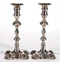 Fine pair of William Cafe Georgian sterling candlesticks, from the estate collection of Buryl and Nelwyn Kay, McLean, VA