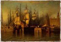 """Samuel Colman (American, 1832-1920) oil on canvas harbor scene, dated 1869, possibly New York, 9"""" x 13 1/4"""" object"""