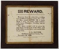 1861 Loudoun Co., VA runaway slave broadside