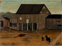 19th-century Shenandoah valley folk art farm scene, descended in a Front Royal, VA family