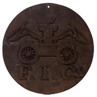 19th-century cast-iron fire mark with Alexandria, VA history