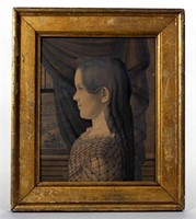 Fine Charles Burton (active 1819-1847) profile portrait of a girl