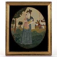 19th-century folk art watercolor, ex-Walters and Benisek