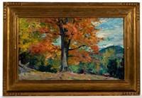 Robert William Vonnoh autumnal landscape, untouched in likely original Arts & Crafts frame
