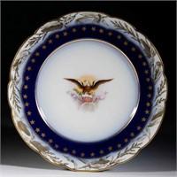 """Rare Limoges dessert plate from President Benjamin Harrison's service, 7 1/4"""" D"""