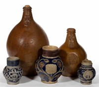 Collection of early pottery, including Bellarmine / Bartmann jugs and Westerwald