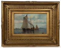Edward Moran (1829-1901) oil on board New York harbor scene, from a Texas private collection