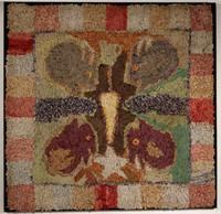19th-century folk art figural hooked rug, Vogel Collection