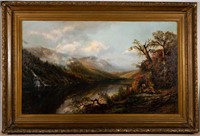 """Edmund Darch Lewis (1835-1910) mountain landscape with figures, including an artist (possibly a self-portrait), by a river side, signed and dated """"1871"""", likely original frame, 30 1/2"""" x 49 1/2"""" sight, 41 1/2"""" x 61 1/2"""" OA."""