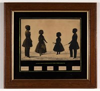 """Rare Samuel Metford (1810-1896) Charleston family group silhouette of the Alston children, signed and inscribed """"Samuel Metford fecit / Charleston, SC"""", dated """"1842"""", Vogel Collection"""
