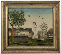 Very fine New England watercolor and silk-embroidered picture (c.1810), Vogel Collection, ex-Stephen and Carol Huber