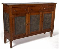 Rare Valley of Virginia, probably Scott Co., walnut punched-tin-paneled sideboard safe, Vogel Collection