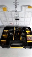 A plastic box of clamps, screws brass fittings,