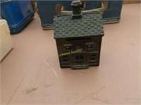 two vintage lunch boxes, small antique house