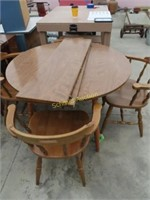 Maple kitchen table, four chairs and two leaves