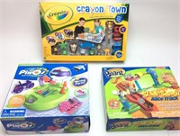 CRAYON TOWN COLORING SET, MIGHTY BEANZ RACE TRACK,