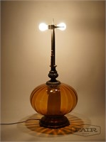 Oversized Orange Glass Lamp w/ Shade