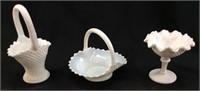 (3) WESTMORELAND DIAMOND POINT MILK GLASS LOT