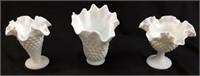 (3) ASSORTED HOBNAIL MILK GLASS FLOWER VASES