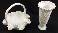 (2) MILK GLASS RUFFLED EDGE BASKET