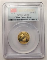 1/10 OUNCE PURE GOLD GRADED MS 70 PANDA COIN