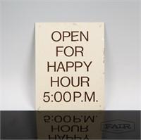 Metal Happy Hour Sign