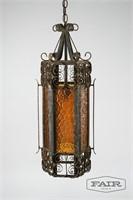 Iron and Orange Glass Hanging Lamp