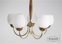 Pair of Brass Wood and Glass Chandeliers