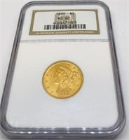 1899 5 DOLLAR US COIN GRADED MS62