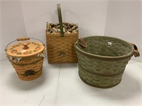 2 Autumn baskets and bushel basket.