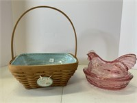 3 Easter basket and glass hen