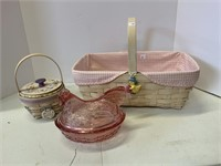 2 Easter baskets and glass hen.