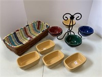 Multi colored dessert bowls with