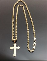 14KT GOLD ROPE CHAIN W 14KT GOLD CROSS