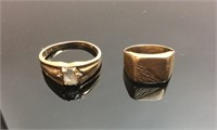 (2) 10KT GOLD RINGS,  6.9 GRAMS TOTAL WEIGHT