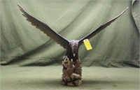 """Wood Eagle Carving, 48"""" Wingspan 36"""" Height"""