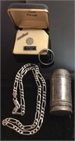 925 SILVER & STERLING LOT, NECKLACE, TIE PIN, RING